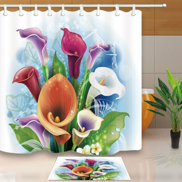 Calla Lily Flower And Dragonfly Bathroom Fabric Shower Curtain And Hooks  71inch