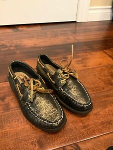 Sperry-Top-Sider-Gold-Snakeskin-Leather-Lace-Up-Loafers-Boat-Shoes-Size-8-US
