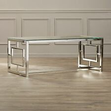 Awesome Glass Coffee Table Modern Metal Living Room Furniture Cocktail Chrome  Rectangle