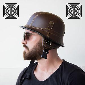 Brown Wwii German Style Motorcycle Half Helmet Skull Cap