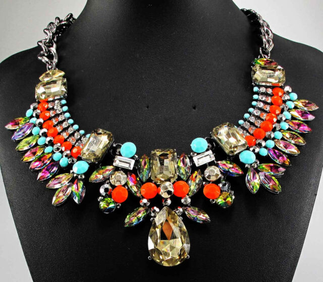 NEW Fashion Jewelry Crystal Chunky Statement Pendant Chain Choker Necklace q733
