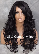 Open Curly Off Black Long Wig Side Part with Bangs Heat Flat Iron Safe ACA 1B