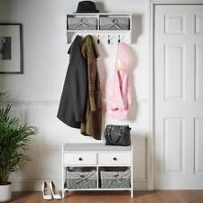 White Wall Mounted Coat Rack Wooden Storage Grey Basket Unit Shelf Hat Scarf