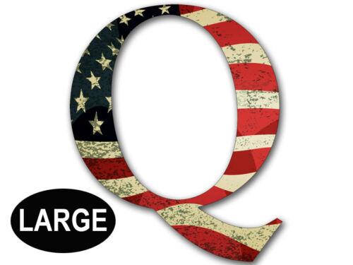 qanon anon big trump gop 8x8 inch LARGE Q Shaped VINTAGE American Flag Sticker