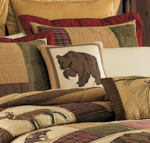 BIG SKY LODGE CABIN RUSTIC TOSS BROWN BEAR PAW ACCENT PILLOW