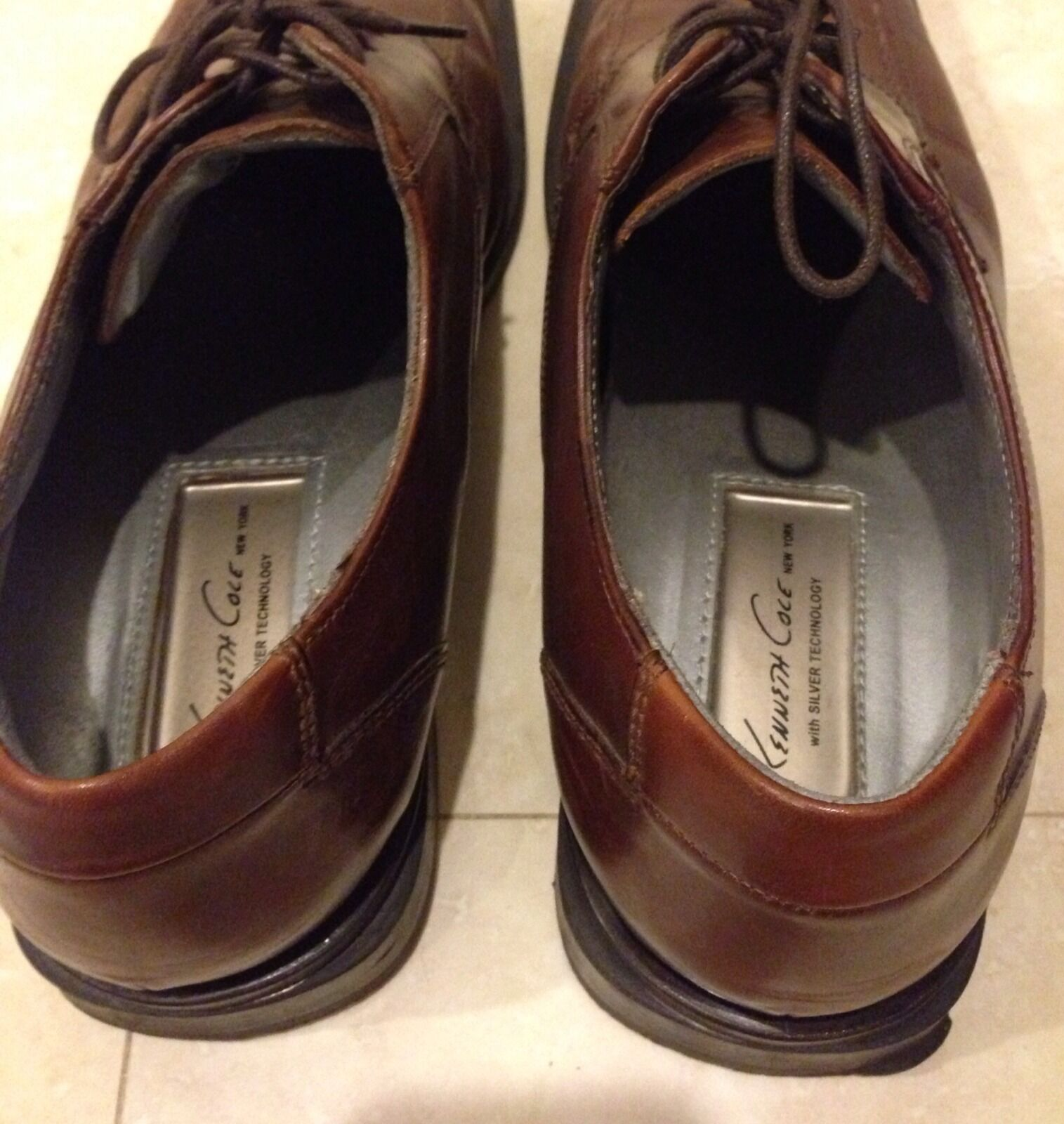 Kenneth Cole New New New York Men's Brown Leather Shoes 11 with Silver Technology d22225
