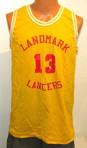 vtg-LANDMARK-LANCERS-13-Basketball-Game-Jersey-XL-70s-yellow-Don-Alleson