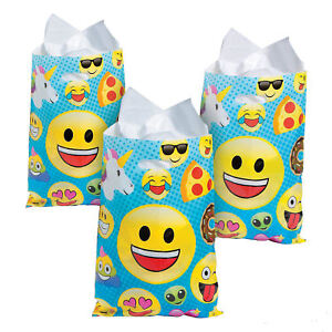 Image Is Loading 24 Emoji LARGE Smiley Face Goody Bags Birthday