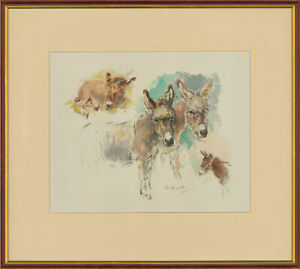 Nora-Howarth-Signed-amp-Framed-Contemporary-Watercolour-Studies-of-a-Donkey