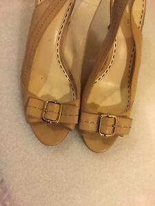 7c20dc3276a8c Details about Coach Womens Heels Size 9.5 B Miranda Tan Leather Peep Toe  Slingback Kitten Pump