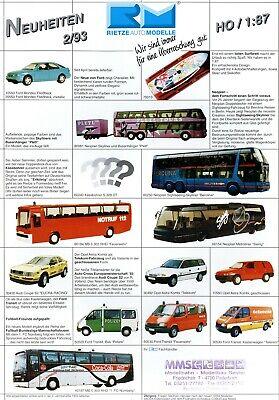 Besorgt Rietze Automodelle Neuheiten 1993 2/93 Prospekt Modellautos Brochure Model Cars
