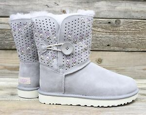 829616ca018 Details about UGG Australia Bailey Button Tehuano Pencil Lead Grey Short  Sheepskin Boots US 5
