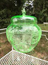 Cambridge Windows Border Number 704 RARE Depression Glass Temple Jar Green MINT