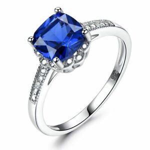 Damenring-Echt-Silber-925-Damen-Ring-Tansanit-Saphir-Stein-Silberring-Geschenk
