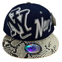 York Snake Skin Navy Blue Snapback Cap