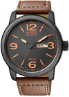 Citizen Eco-Drive Leather Strap Mens Stainless Steel Military Watch BM8475-26E