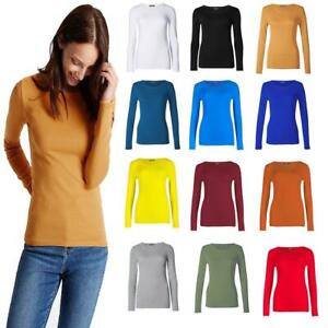 Womens-Plain-Tshirt-Ladies-Long-Sleeve-Scoop-Neck-T-Shirt-Top-Plus-Sizes-8-26
