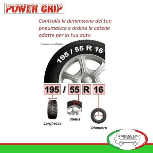 Catene da Neve Power Grip 9mm Omologate Gr 65 Gomme 185//60R15 Opel Meriva