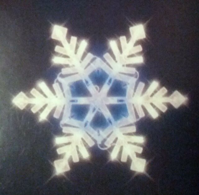 lighted christmas window decoration snowflake white blue lights