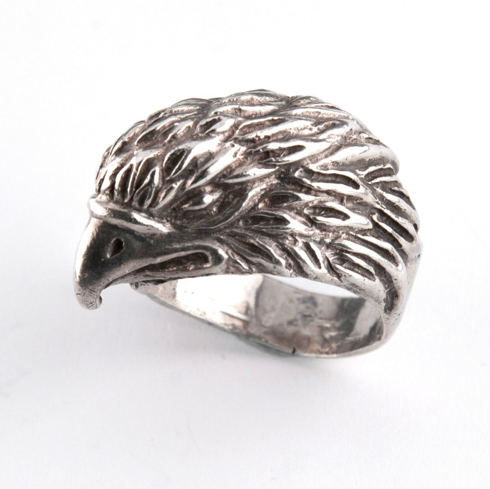 .925 Eagle Head Diamond Cut engraved style ring 18.9g size 10.5