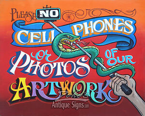No Photos of ART cellphone Tattoo Shop Policy Print vintage style ink