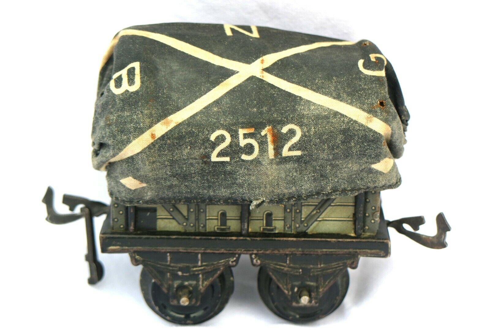 201F  Early (c1912) Bing O Gauge Open Goods Wagon with Tarpaulin 10475 0