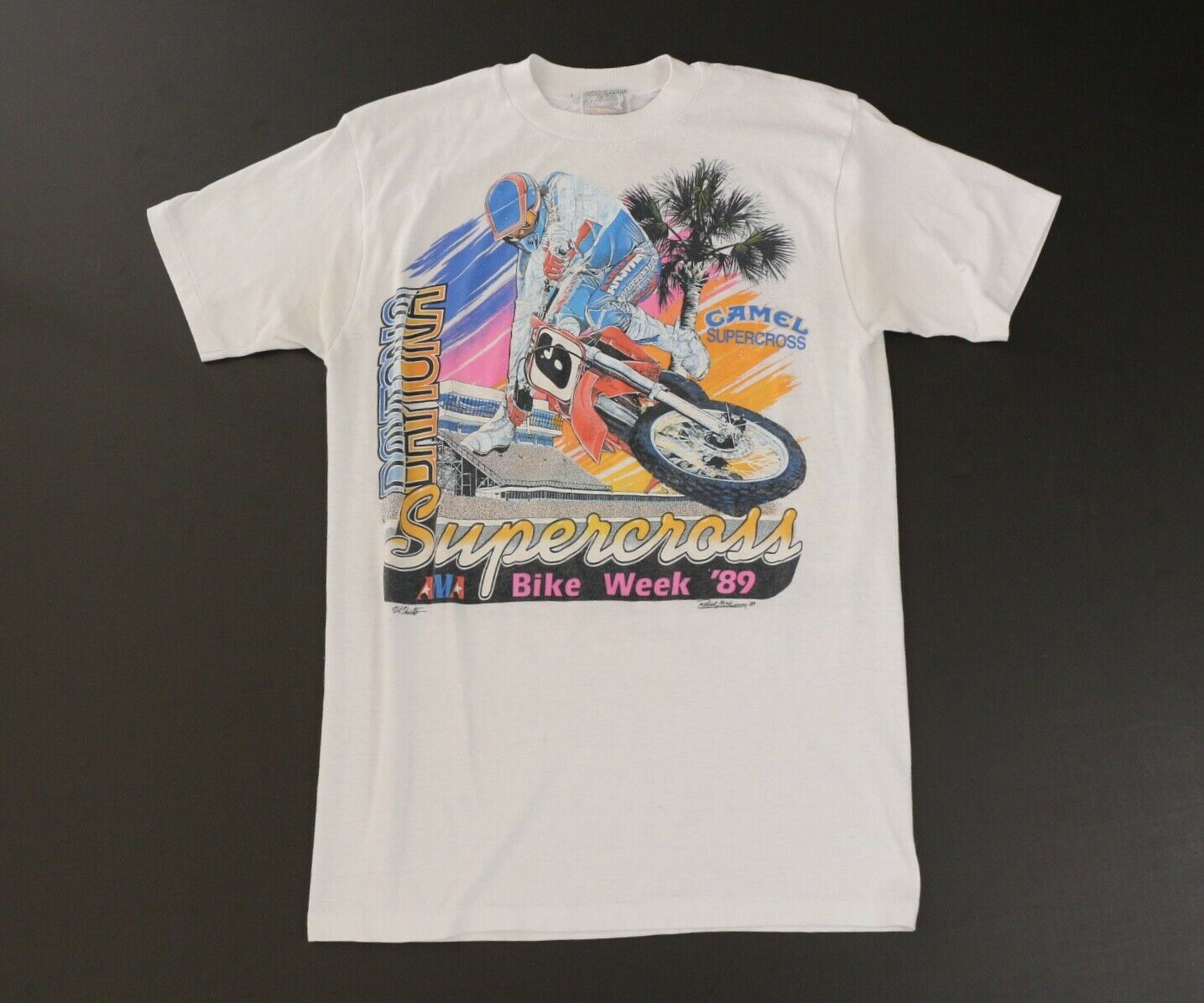 Vintage 89 Motocross Bike Week Camel Tee T Shirt Large fits S Small 2 Sided