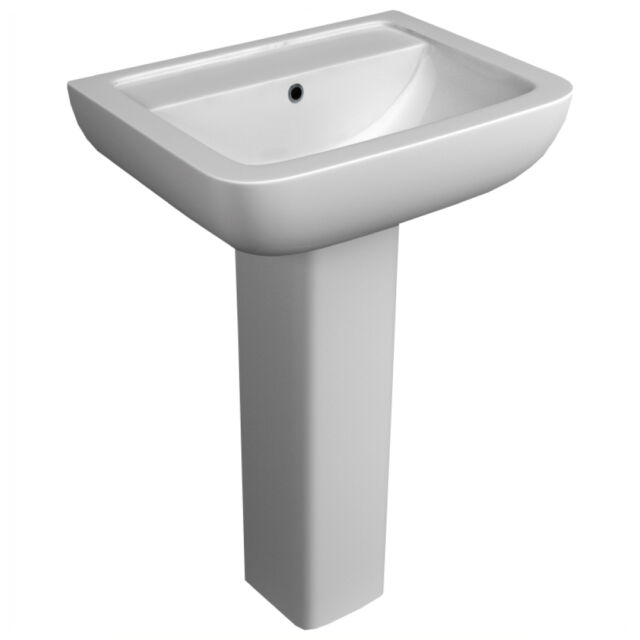 Options 600 Modern Ceramic Square Basin And Pedestal 2 Tap Hole Bathroom Sink