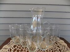 9 Piece Vintage West Virginia Etched Glass Ice Lip Pitcher + 8 Drinking Glasses
