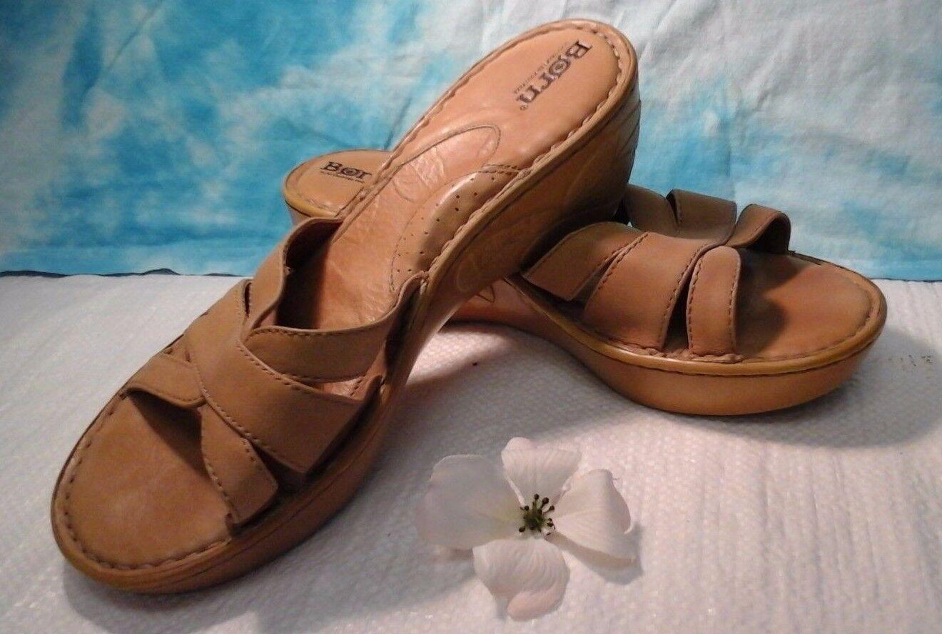 Born Tan High Heel Wedge Leather
