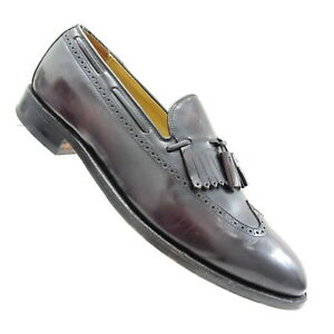 Johnston-Murphy-Handcrafted-Mens-12-E-C-Leather-Shoes-Tassel-Kiltie-Brogue-Black