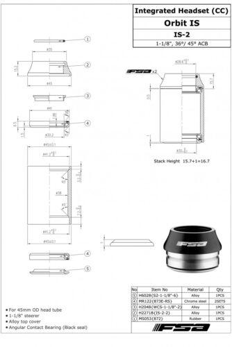 FSA Orbit IS-2 1 1//8 Threadless OD 45mm Road Bike Integrated Headset W// Top Cap