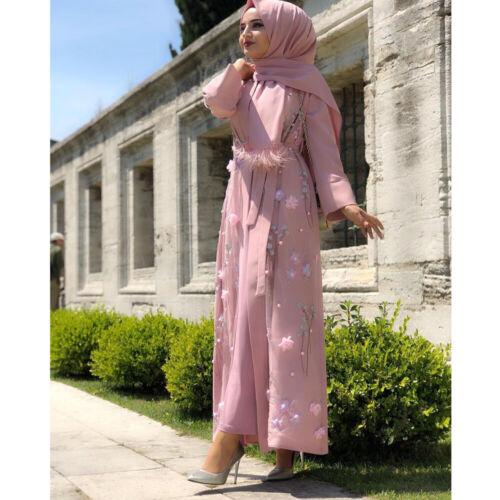 Open Kaftan Muslim Kimono Abaya Women Dubai Robe Cardigan Maxi Dress Gown Jilbab