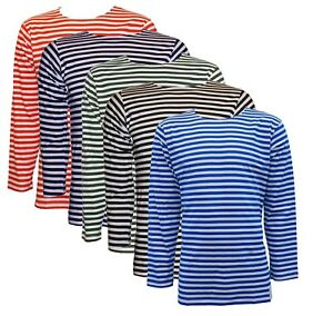 Russian Telnyashka Navy Marines Striped Black T-shirt long sleeve 100/% cotton