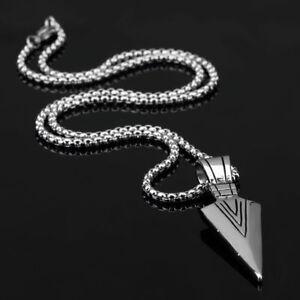 Men-Fashion-Jewelry-Silver-Arrow-Head-Pendant-Long-Chain-Necklace-Gift