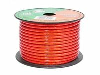 Pyramid Audio 10 Ga Clear Red Power Copper Wire Bulk 100 Ft Cable Spool Rpr10100