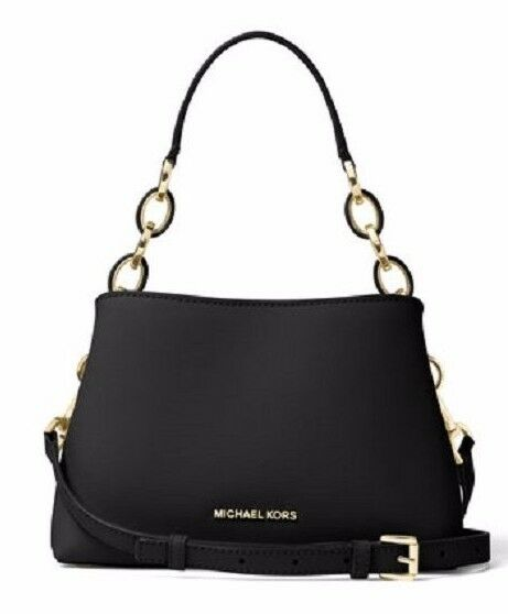 c251977f2b24e5 Michael Kors Portia Small Saffiano Leather Shoulder Bag Black Chain Link  298 for sale online | eBay