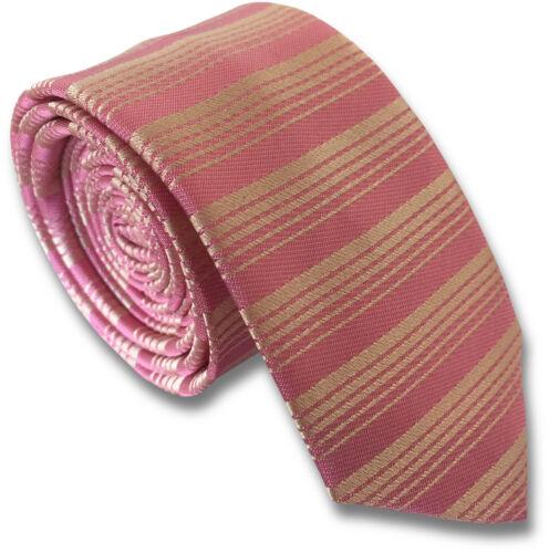 Rose pâle et pêche horizontale stripe soie skinny rayé cravate