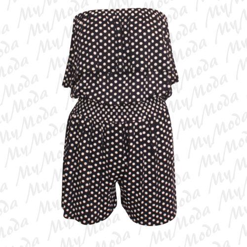 Ladies Women/'s Sleeveless Bandeau Boobtube Frill Shorts Playsuit Jumpsuit 8-14
