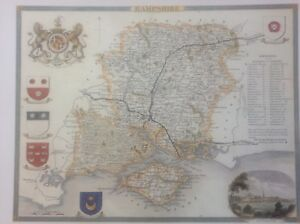 """Details about Hampshire Antique Colour Map by Thomas Moule County Maps of  Old England 14"""""""