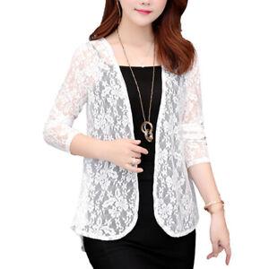 Women-Sheer-Open-Front-Cardigan-Jacket-Ladies-Formal-Suit-Blazer-Lace-Coat-Top