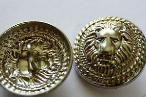 Chanel-Vintage-Buttons-2-pieces-Lion-silver-26-mm-1-inch-XL