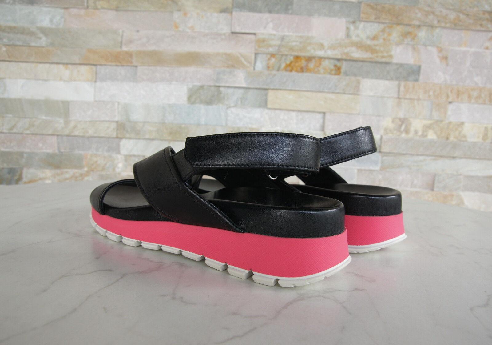 PRADA Gr 39,5 Sandalen Sandals 3X6022 Schuhe Klett Klett Klett schwarz pink NEU e8a518