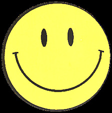 11024 Classic Yellow Happy Smiley Face Smiling Hippie Hippy 60s Sticker / Decal