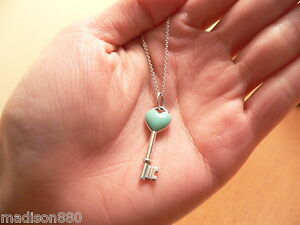 Tiffany co silver turquoise blue enamel heart key necklace pendant image is loading tiffany amp co silver turquoise blue enamel heart aloadofball Image collections