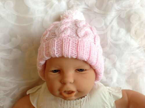 HAND KNITTED CHLDS BOB HAT CABLED PINK AGE 0-3mths3-6mths6-12mths 1-2 /&3-4 yrs