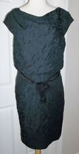 KAY UNGER~ELEGANT BLACK TEXTURED CHAIN TIE BELT DRESS~14