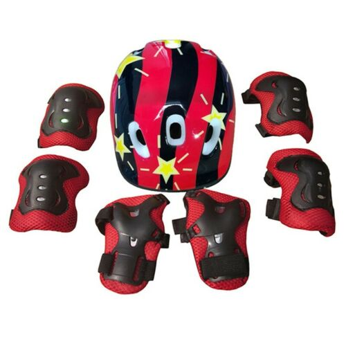 7Pcs//set Kids Safety Helmet Knee Elbow Protect Pad Set Skating Bike Cyclin#ctg