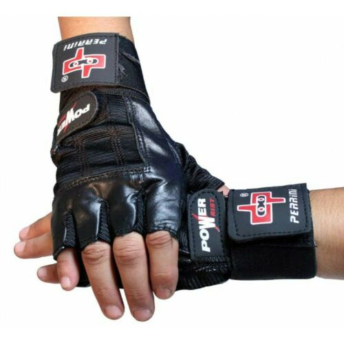 Black Leather Weight Lifting Fingerless Workout Gloves