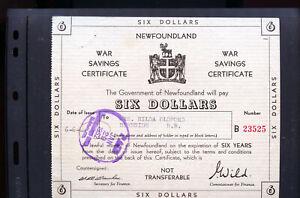 Newfoundland-6-War-Saving-Certificate-WWII-Marshau-Wild-signature